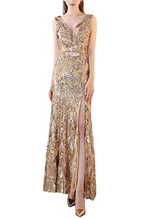 ffda30c65c Fanhao Women s V Neck Golden Sequins with Belt Mermaid Split Long Prom  Dress