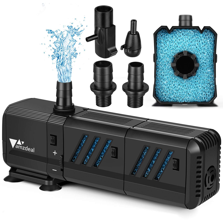 amzdeal Water Pump Aquarium 400GPH (1500L/H,15W) Submersible Water Pump with Two Filters Ultra Quiet Water Pump for Aquarium, Fish Tank(200L,>55gallon, Pond, Fountain,Hydroponics
