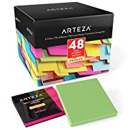ARTEZA 3x3 Inches Sticky Notes, 48 Pads, 100 Sheets Per Pad, Bulk Pack, Assorted Colors, Re-Adhesive, Clean Removal, for Reminders, Studying, Office, School, and Home