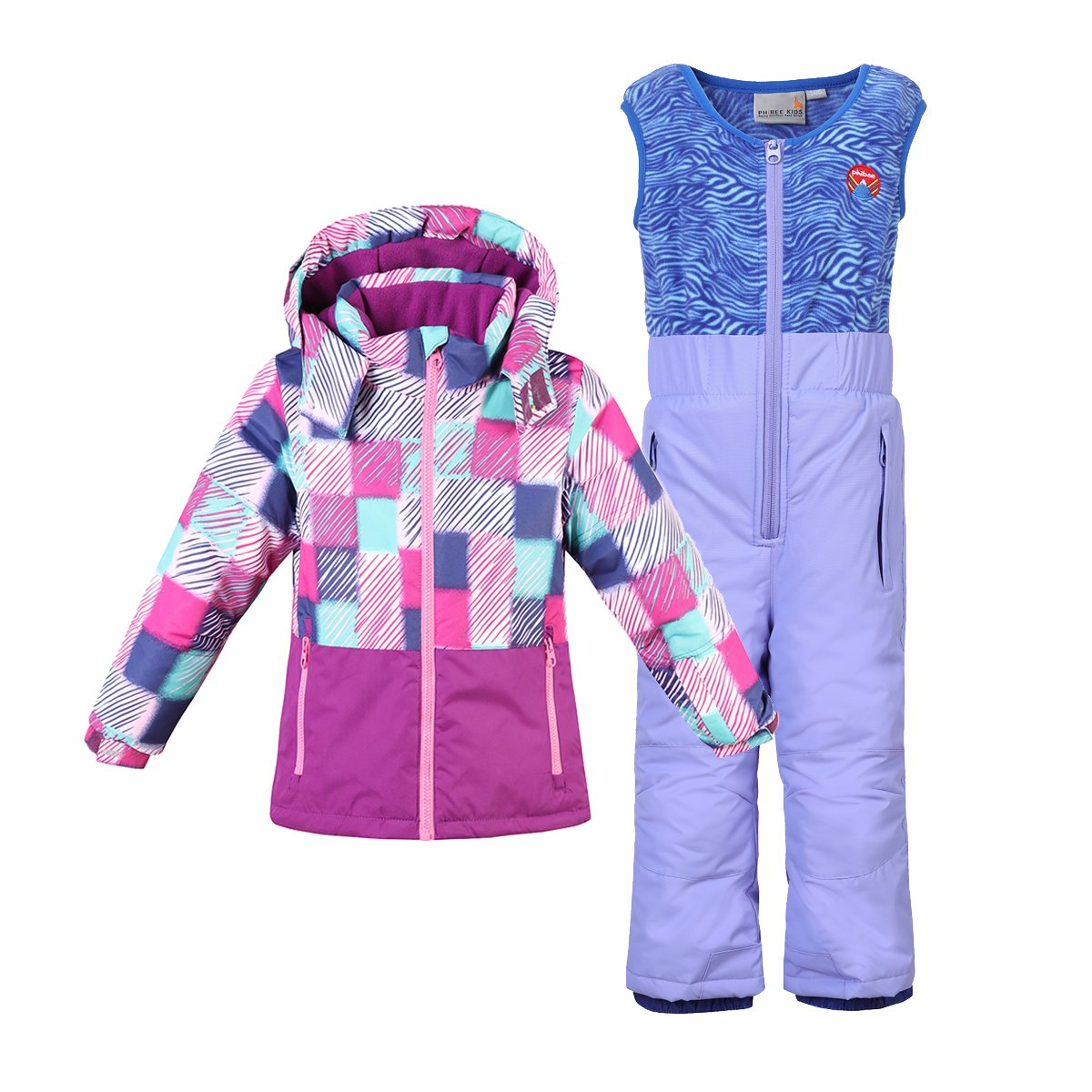 Phibee Little Girls' 2-Piece Winter Waterproof Snow Bibs and Ski Jacket Warm Snowsuit