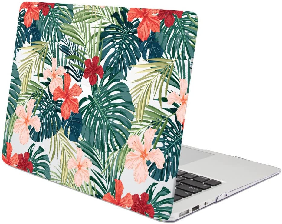 GMYLE MacBook Air 13 Inch Case A1466 A1369 Old Version 2010 2017, Hard Shell Plastic Clear Crystal Glossy Snap On Cover (Tropical Floral)