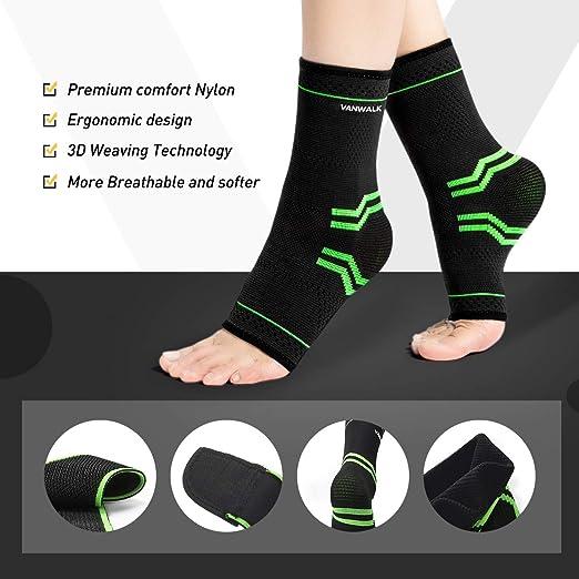 VANWALK Ankle Brace mit Klettverschluss Active 2 Kn/öchel St/ützb/ügel Gr/ün Kompressionsh/ülse mit verstellbarem Armband f/ür Damen Herren