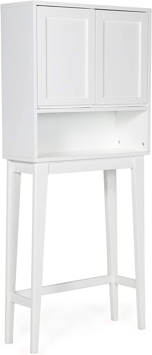 SIMPLIHOME Draper 24.4 inch H x 27.6 inch W Over The Toilet Space Saver Bath Cabinet in White with Storage Compartment and 1 shelf, for the Bathroom, Mid Century Modern