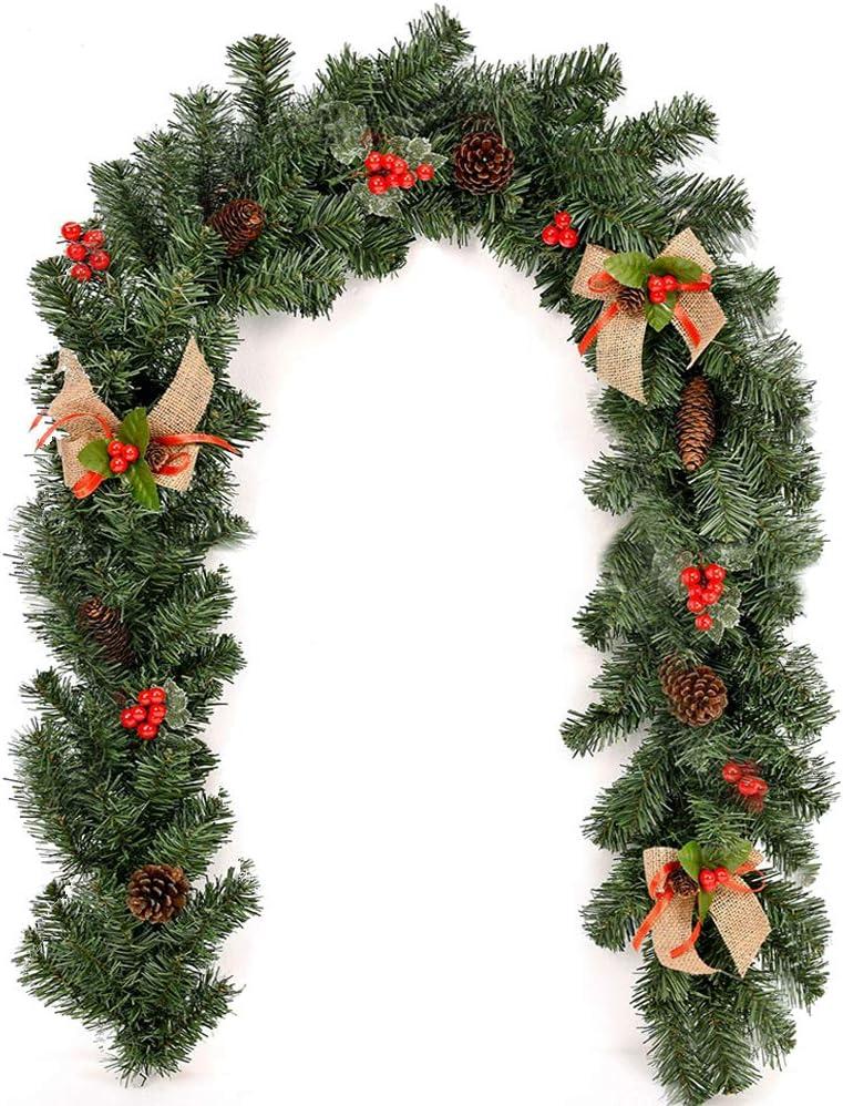 Guirnaldas de Navidad de 1,8 m 1,8 m con bayas de pino y arpillera para decoraci/ón de /árbol de Navidad