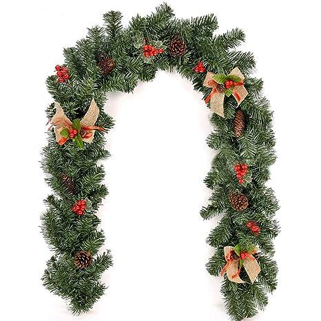 Ghirlande Di Natale.Lovestory Eu 1 8m 2 7m Ghirlanda Di Natale In Rattan Decorazioni Natalizie Con Bacche E Pigne Adatta Per Decorazioni Per Feste Nodo Natalizio 1 8m