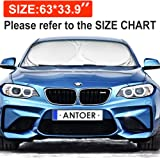 Windshield Sun Shade With 2 Ears For Maximum UV And Sun Protection -Foldable Sunshade For Car Windshield Will Keep Your Car Cooler- Easy To Use Windshield Sunshade 63''x33.9''
