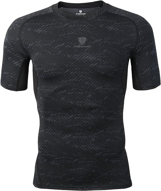 Herren Fitness Kompression Funktionsshirt Baselayer Kurzarm T Shirts Sports Tops