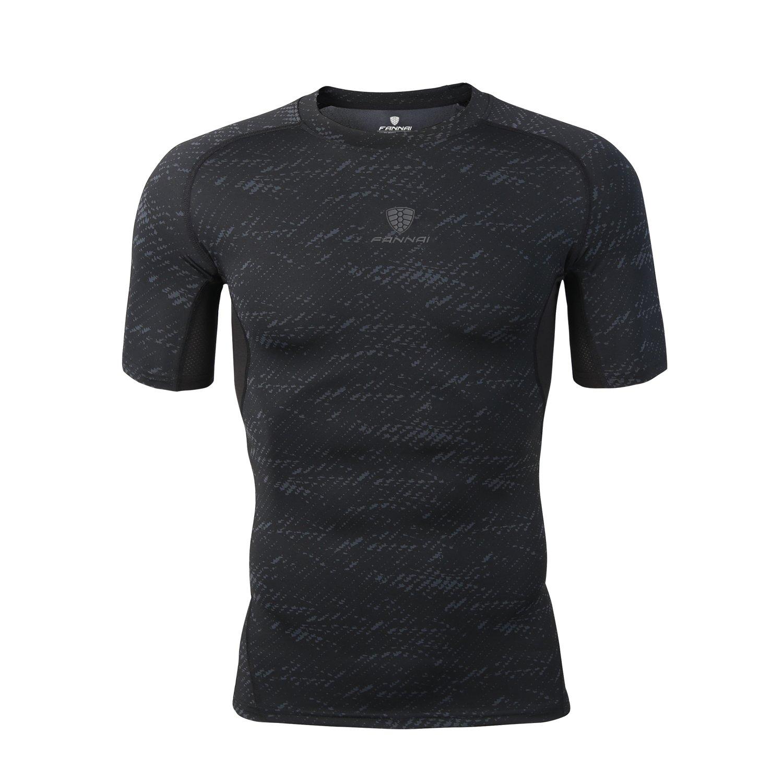 Barrageon Camiseta de Compresión de Mangas Cortas para Hombre ...