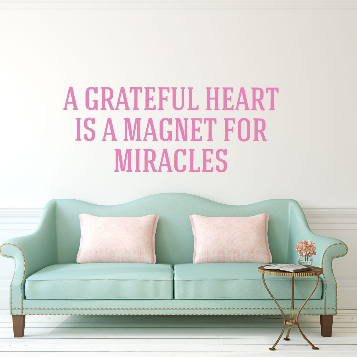 A Grateful Heart Is A Magnet For Miracles Quote Farmhouse Decor Wall Sign Vinyl Decal Gratitude Quote Family Gift Handmade Amazon Com