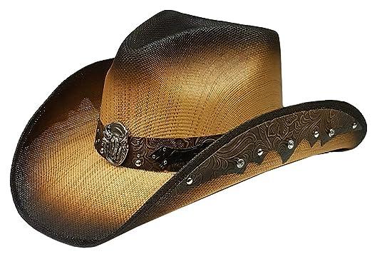 Modestone Straw Cowboy Hat Longhorn Bull Rhinestones Appliques Brown   Amazon.co.uk  Clothing 0b09673b790