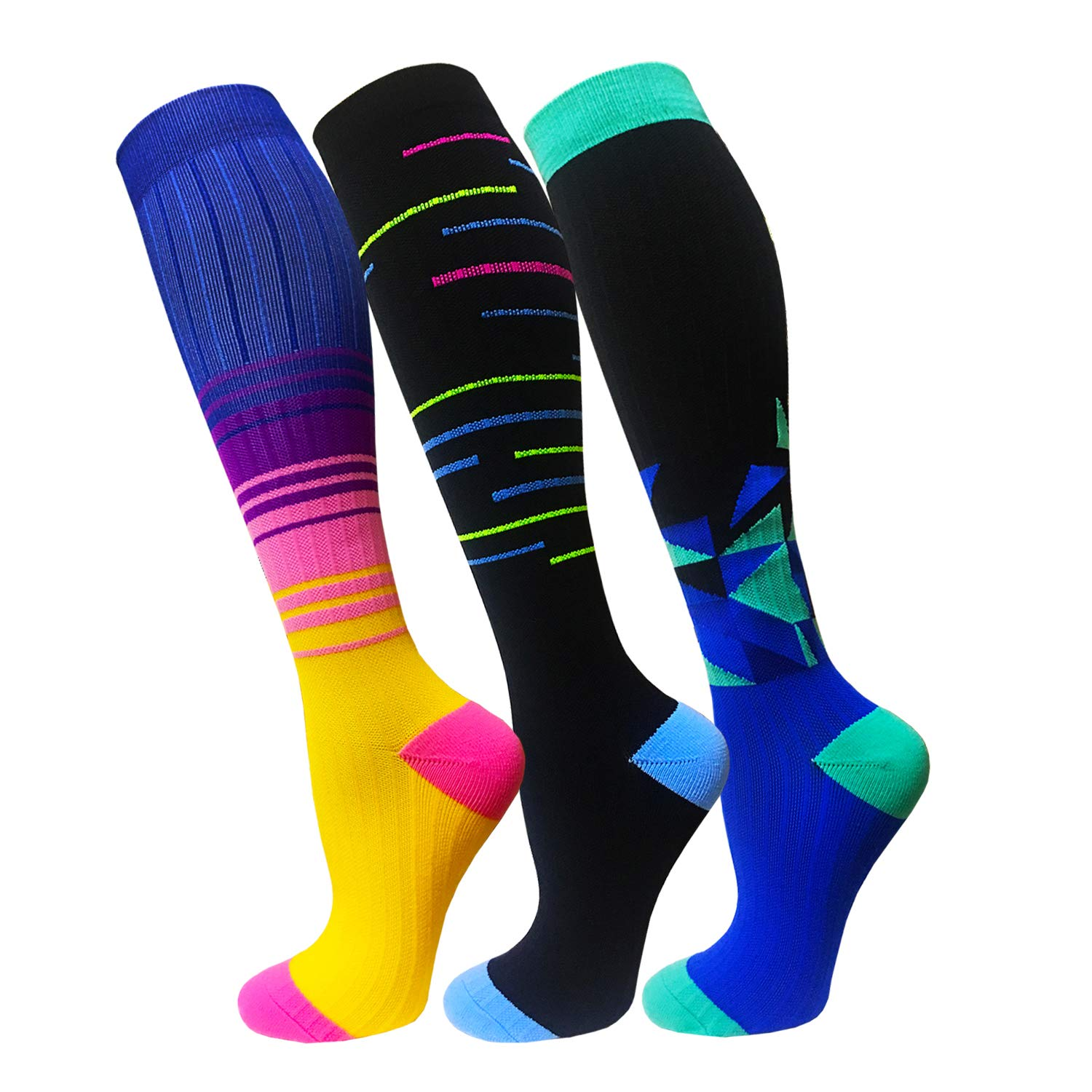 Compression Socks For Men & Women(3 Pairs)- Best For Running,Athletic,Medical,Pregnancy and Travel -15-20mmHg (S/M, Multicoloured 8)