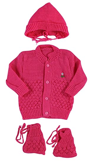 8a264aa4a69a New Born Baby Woolen Knitted Baby Set (3Pcs Suit)  Amazon.in  Baby