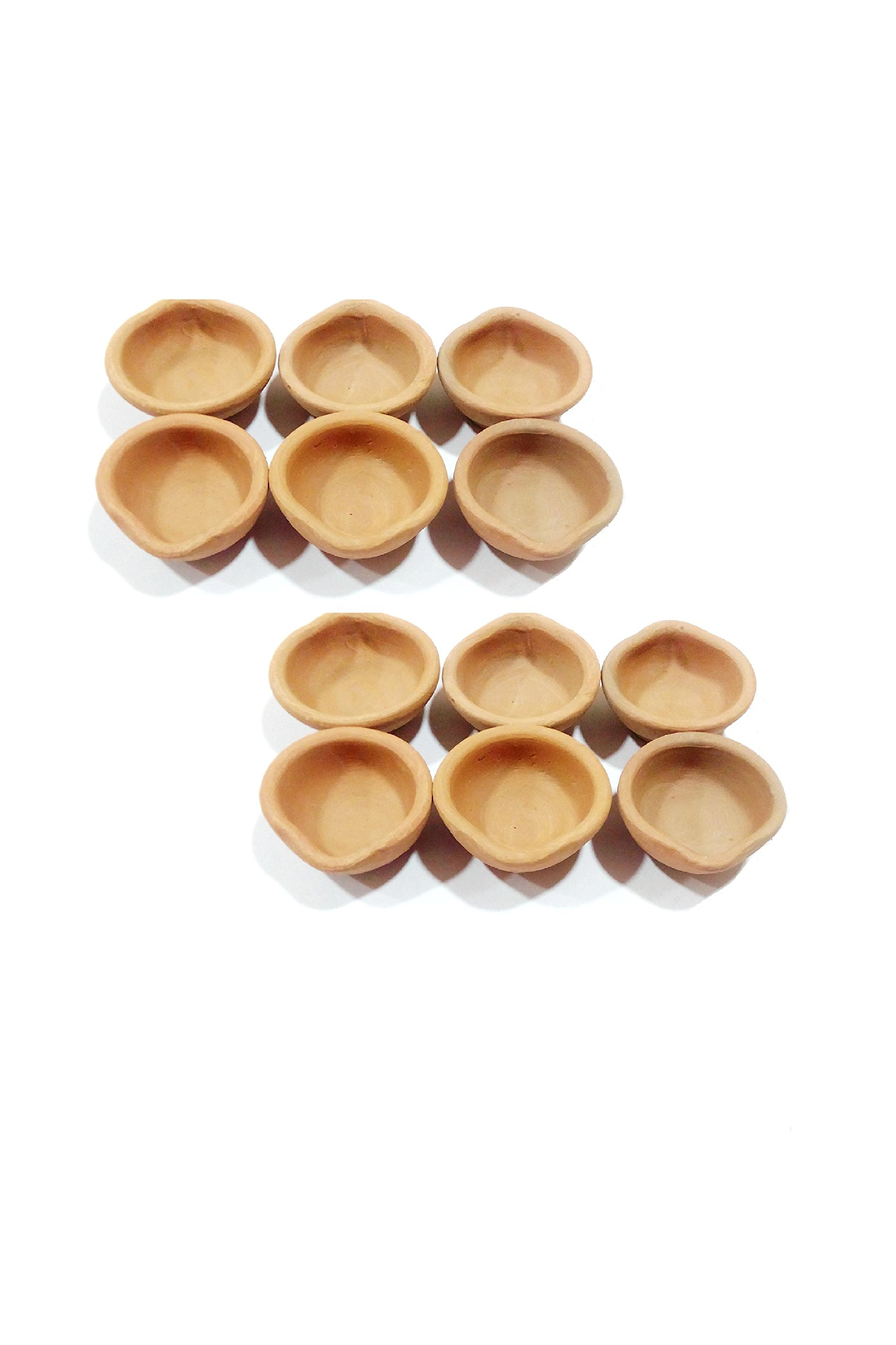 Storite 12 Pack of Traditional/Indian Hand Crafted With Earthen Clay Oil Lamps/Diyas/Deepak For Gifts/Decorations/Festivals/Temples + Free Pack of Wicks/Bati (12)