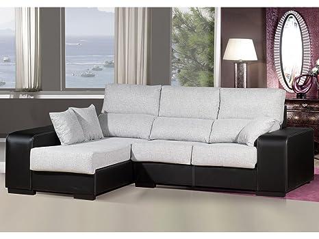 Sofa chaiselongue ,medida 275 Tapizado similpiel y tela (Color claro y Negro)