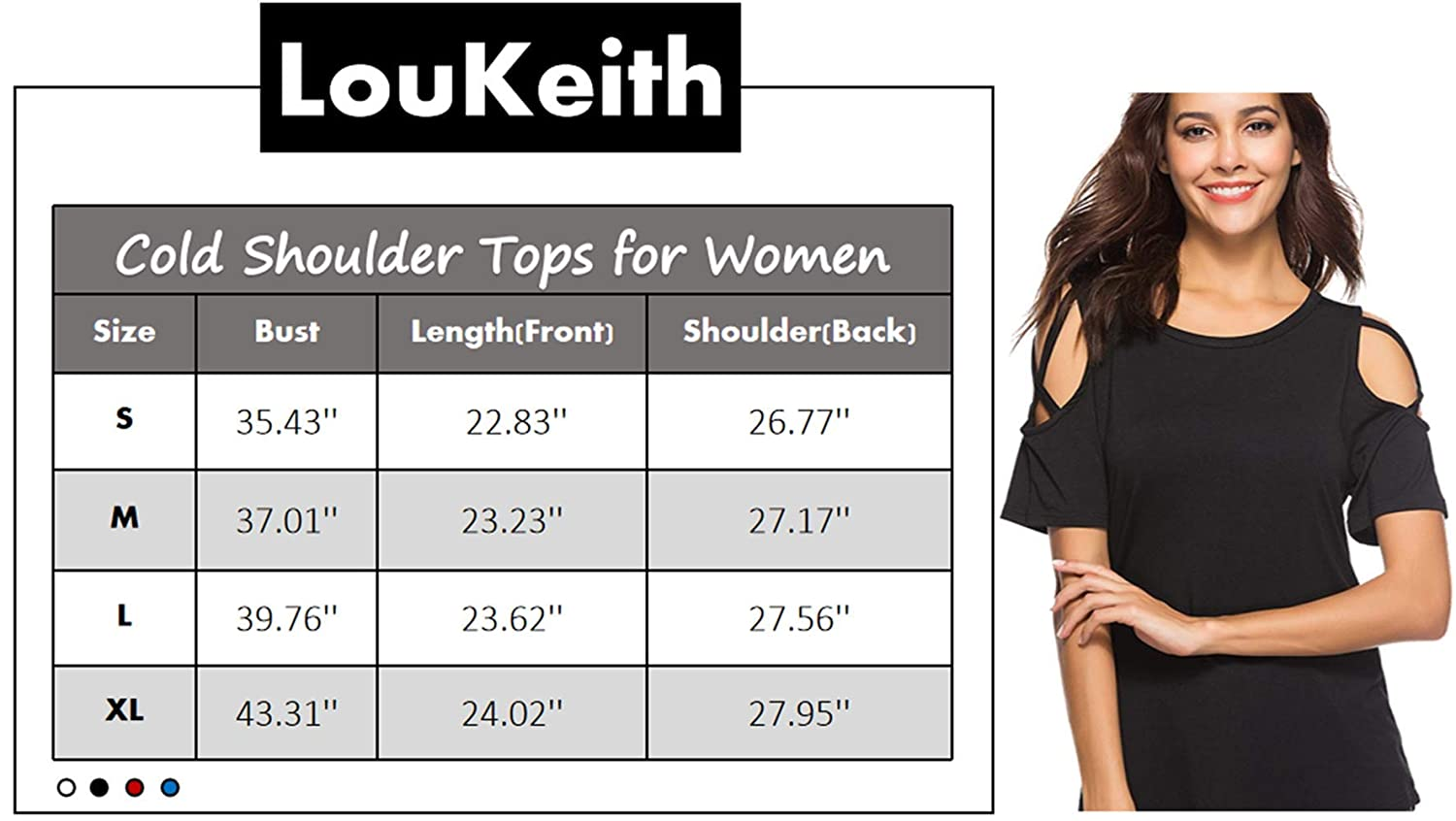 307e768dbc0 LouKeith Womens Tops Cold Shoulder Short Sleeve T Shirts Cotton Loose  Casual Sexy Strappy Tunic Blouses at Amazon Women's Clothing store: