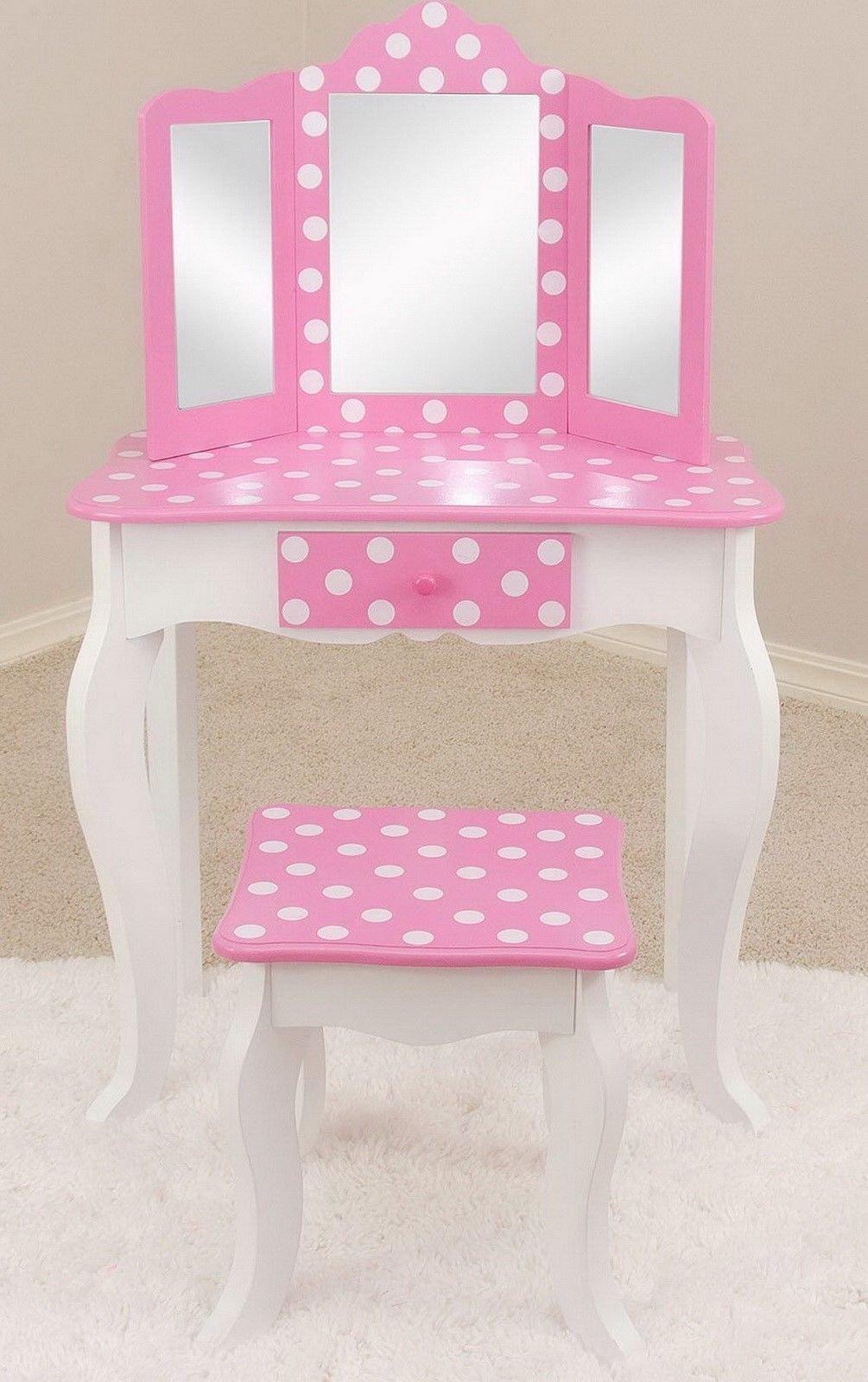 Teamson Kids Fashion Prints Polka Dot Vanity Table & Stool (Pink / White)