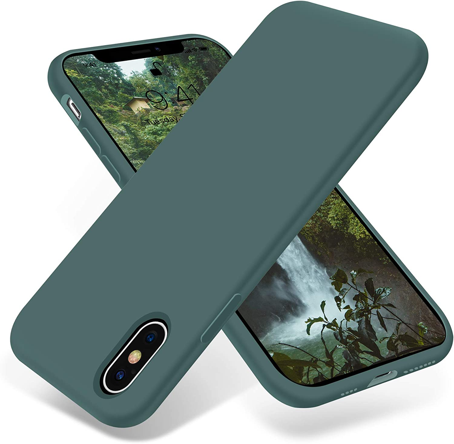 OTOFLY iPhone Xs Max Case,Ultra Slim Fit iPhone Case Liquid Silicone Gel Cover with Full Body Protection Anti-Scratch Shockproof Case Compatible with iPhone Xs Max, [Upgraded Version] (Pine Green)