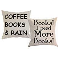 """Foozoup Book Lover Reading Book Club Inspirational Quote Cotton Linen Home Decorative Throw Pillow Case Cushion Cover with Words for Couch 18"""" x 18"""""""
