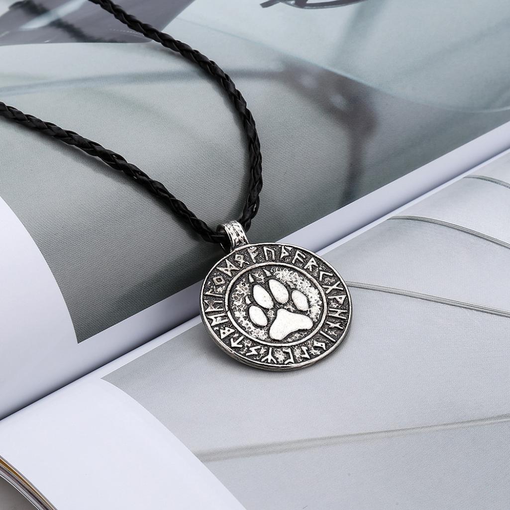 Becoler Nordic Vikings Print Bear Amulet Necklace Pendant The Norse Rune Talisman Bear