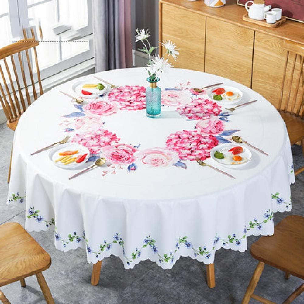 Traann Mantel de Hule, Redondo Grande limpie Limpio PVC PVC Mantel Comedor Cocina Mesa Cubierta Protectora Hoja Flores rojo-160