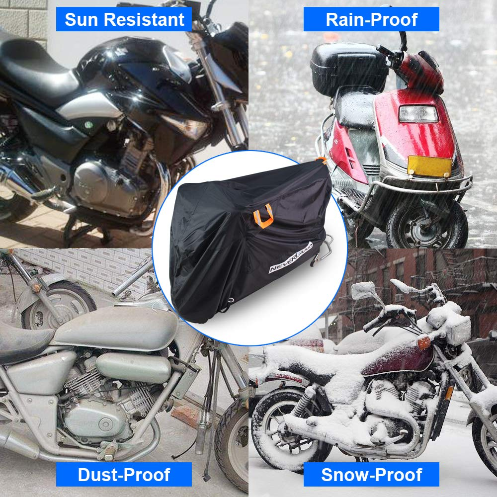 XXL NEVERLAND Motorcycle Covers 104.3 x 41.3 x 49.2 inch 2 Stainless Steel Safety Lock-Holes upgrade 210D Heavy Duty Motorbike Outdoor Waterproof Anti-UV Dust Rain Protector