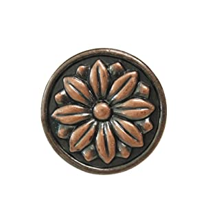 10 Pack Antique Copper Cabinet Knobs,1.5 inch Diameter Round Knobs,Vintage Dresser Drawer Knobs,Copper Cupboard Pull Handles,Antique Kitchen Cabinet Hardware Pulls