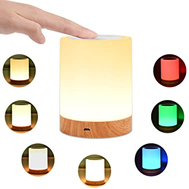 KMASHI Night Light, Bedside Table Lamps for Bedrooms, LED Rechargeable Portable Touch Lamp with Dimmable 2800K-3100K Warm White Light & Color Changing RGB