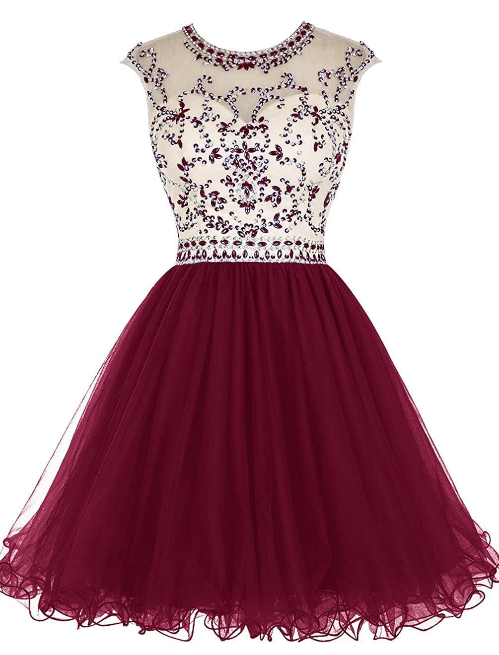 Dark Red TideClothes Short Beading Homecoming Dresses Tulle Prom Cocktail Party Gowns