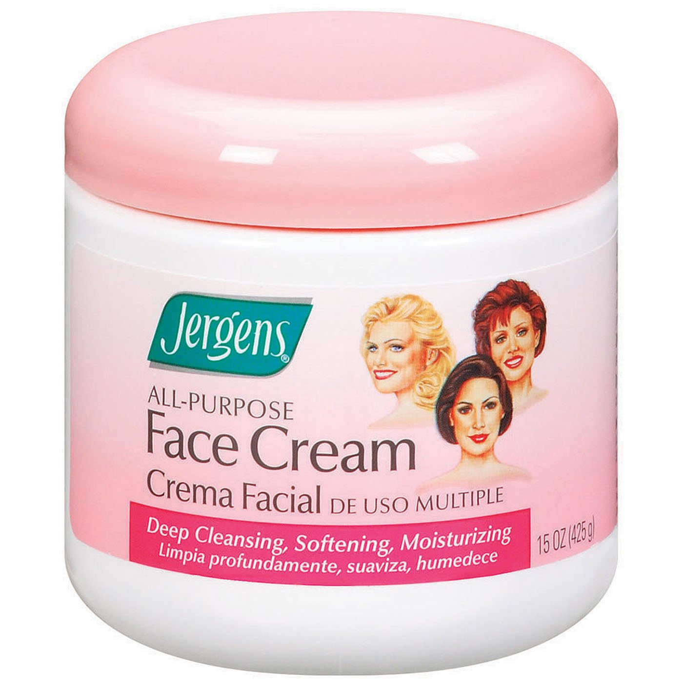 Jergens All Purpose Face Cream, Deep Cleansing Facial Cream, Makes Skin Smooth and Vibrant, 15 Ounce (Pack of 3)