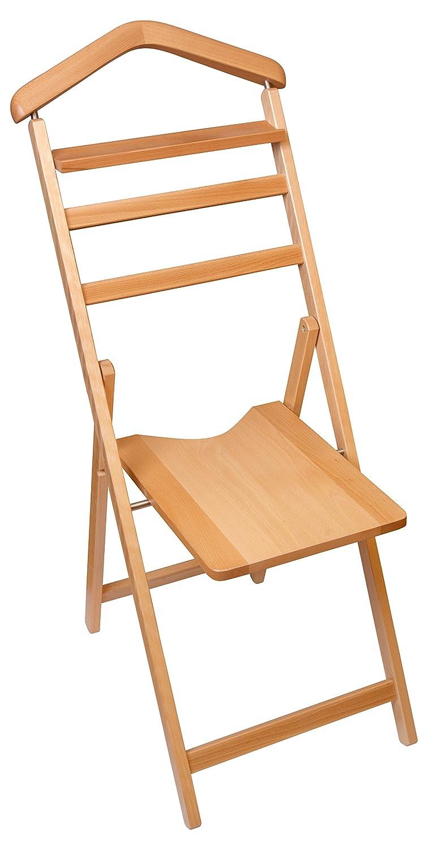 Hagspiel Herrendiener aus Buchenholz, natur lackiert, mit Stuhl
