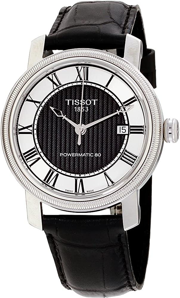 Tissot T-Classic Black Dial Black Leather Automatic Men s T0974071605300