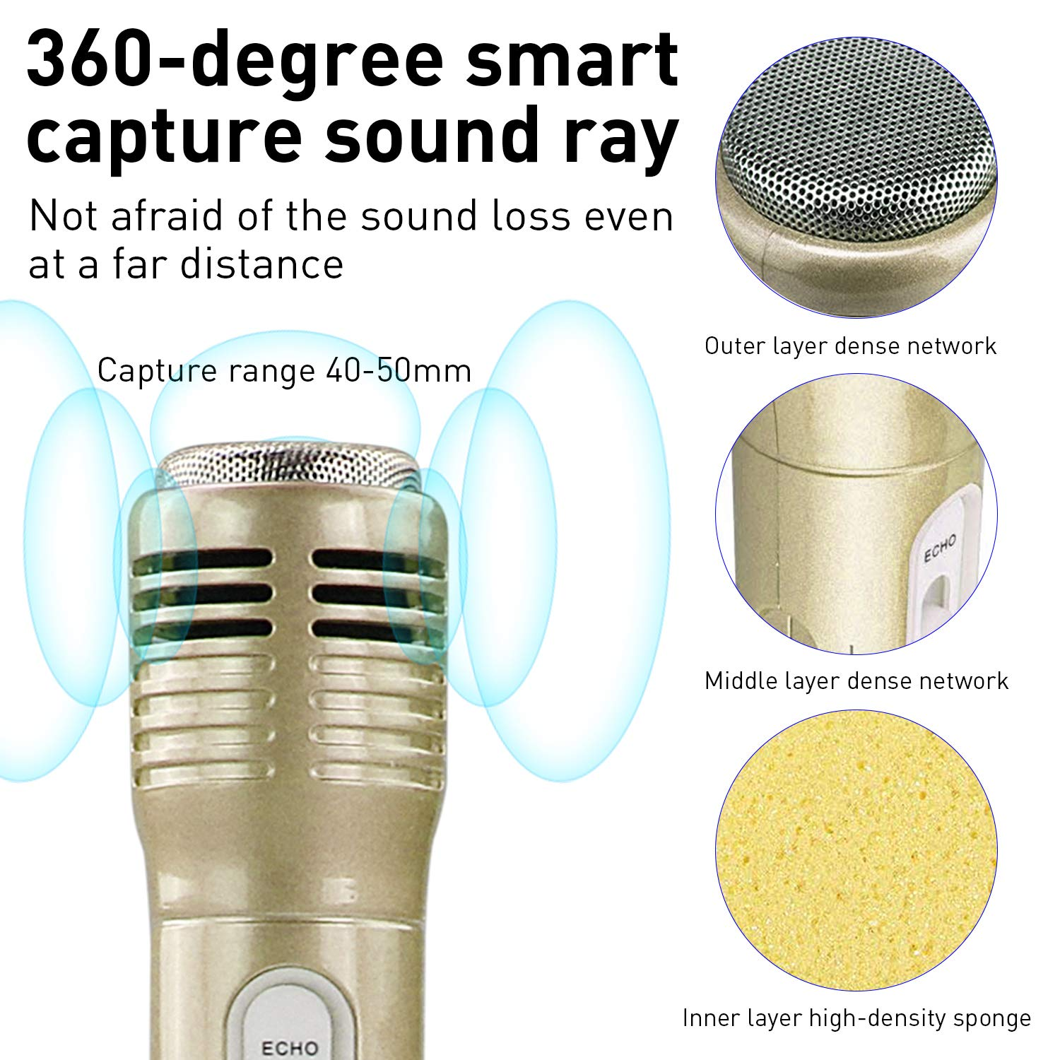 Microphone for Kids, Wireless Bluetooth Microphone with Bluetooth Speaker and Multi-color LED Lights Handheld Singing Machine Girls Boys Birthday Gift Compatible with PC/iPad/Smartphone - (Champagne) by WOSTOO (Image #2)
