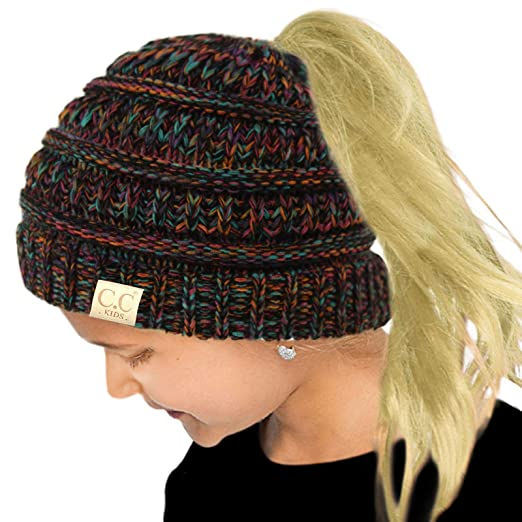 ad8503128ba Amazon.com: Kids Ponytail Messy Bun BeanieTail Soft Winter Knit Stretch Beanie  Hat Quad Black Multi: Clothing