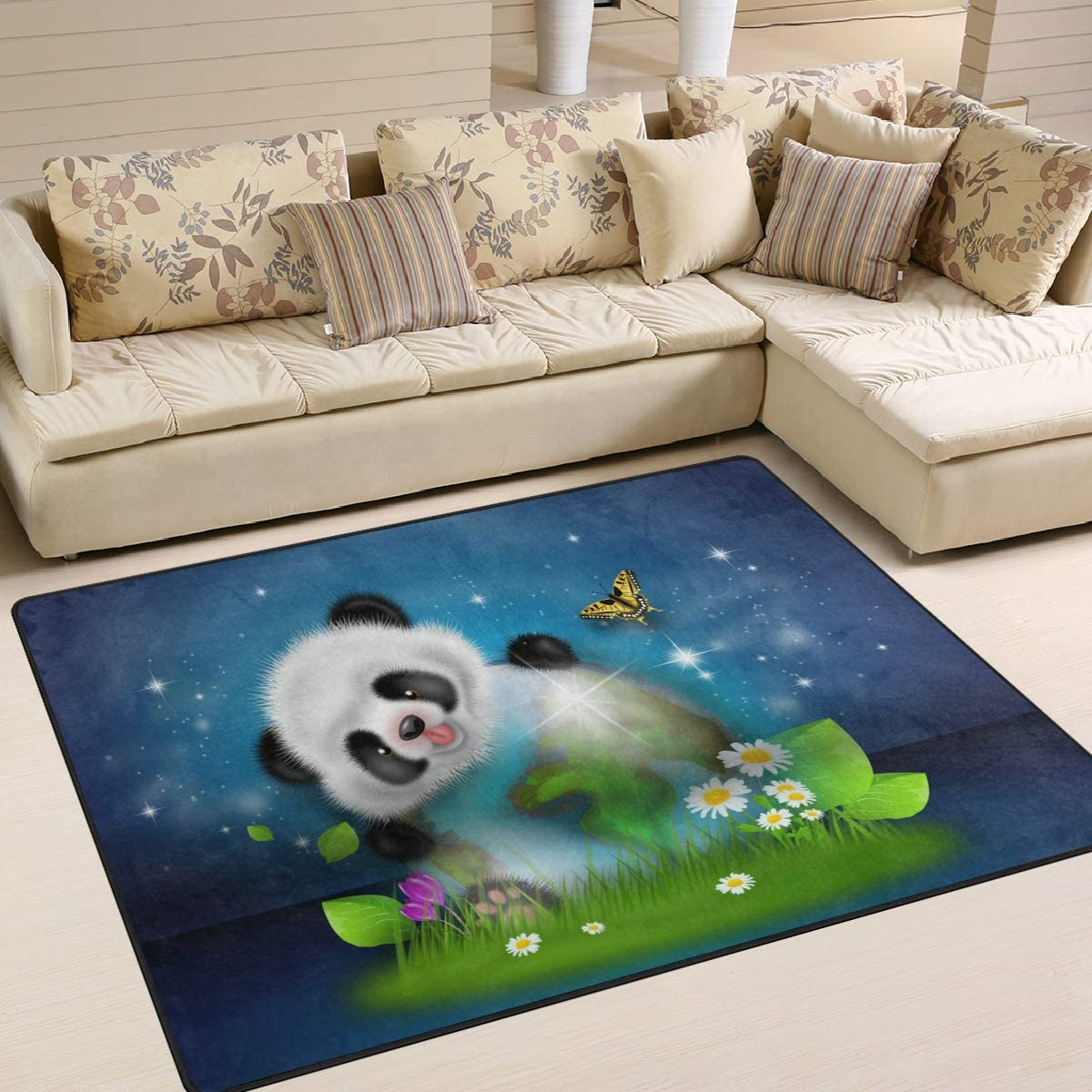 1.7 x 2.6 ft Animal Panda Bear Nursery Rug Floor Carpet Yoga Mat 50 x 80 cm Naanle Cute Panda Non Slip Area Rug for Living Dinning Room Bedroom Kitchen