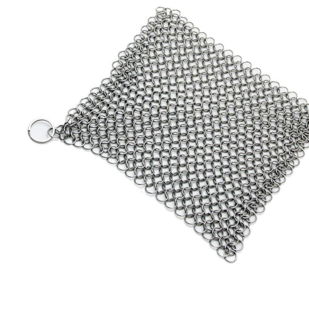 theoneshop66 Cast Iron Scrubber Pan Cleaner Pad Stainless Steel Chain Mail Silver XL 6 x 6'' by theoneshop66
