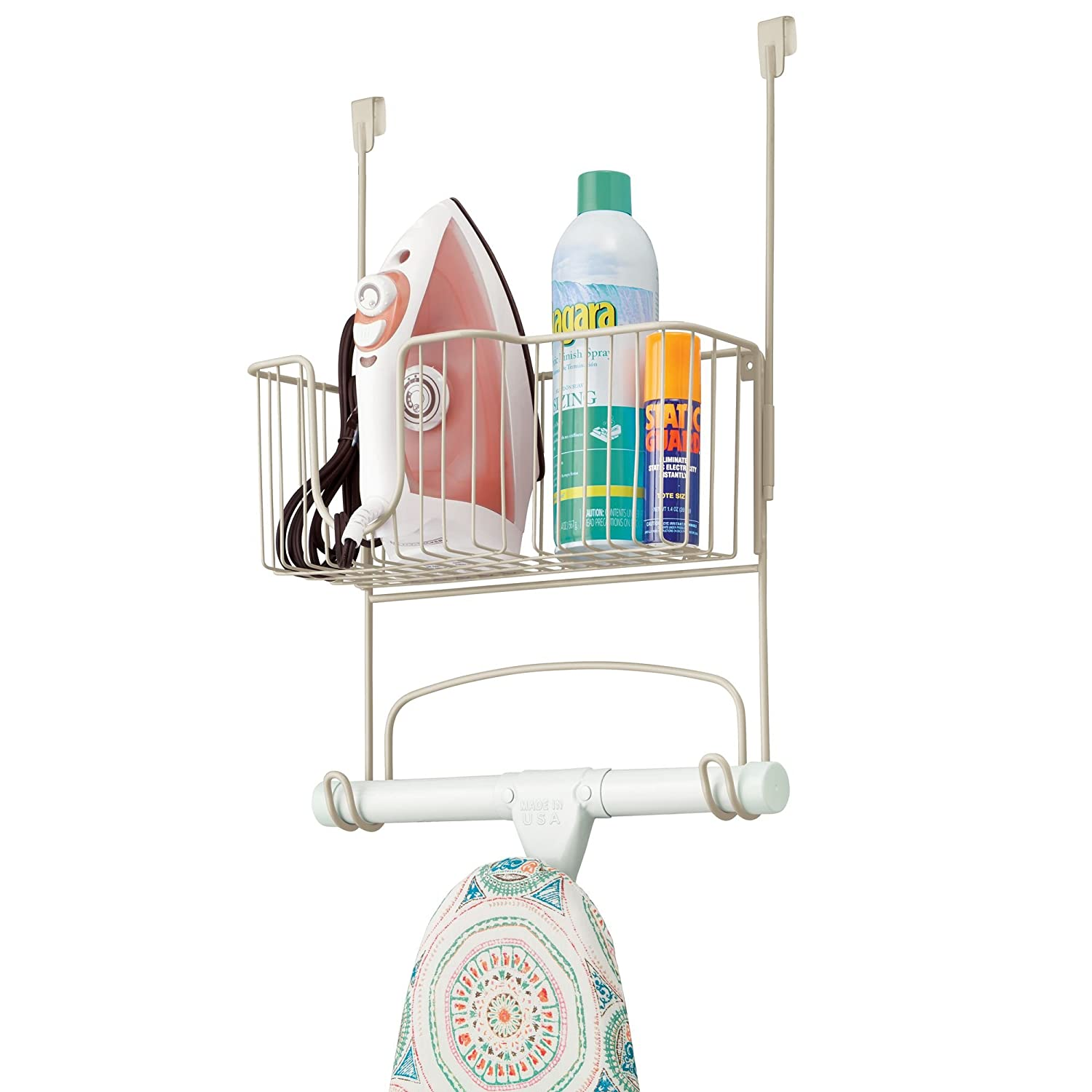 mDesign Metal Over The Door Ironing Board Holder with Large Storage Basket - Holds Iron, Board, Spray Bottles, Starch, Fabric Refresher Iron for Laundry Rooms - Bronze MetroDecor