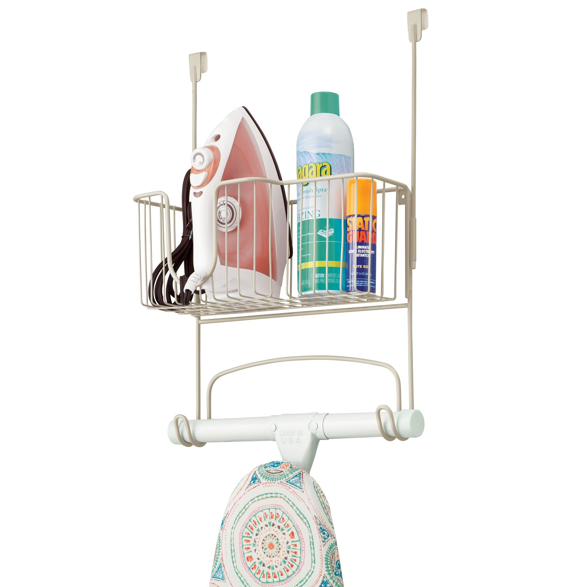 mDesign Ironing Board Holder with Large Storage Basket: Wall Mount or Hang Over The Door - Holds Iron, Board, Spray Bottles, Starch, Fabric Refresher Iron for Laundry Rooms – Durable Steel, Satin by mDesign