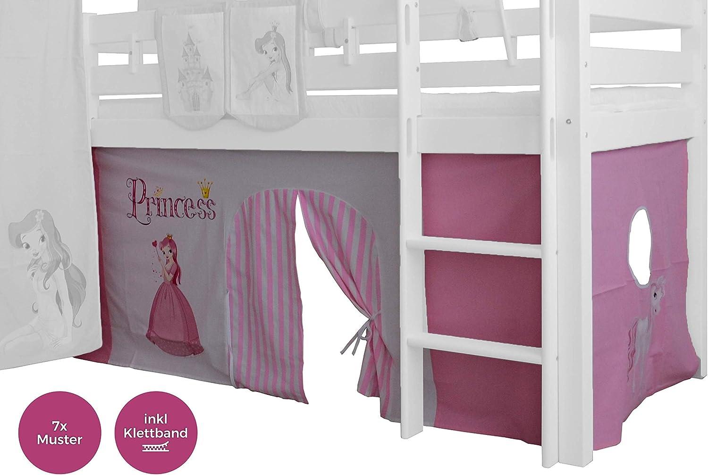XXL Discount Cortina de 3 piezas, 100% algodón, incluye cinta de velcro para cama alta, cama de juegos, literas, cama de piso, cama infantil
