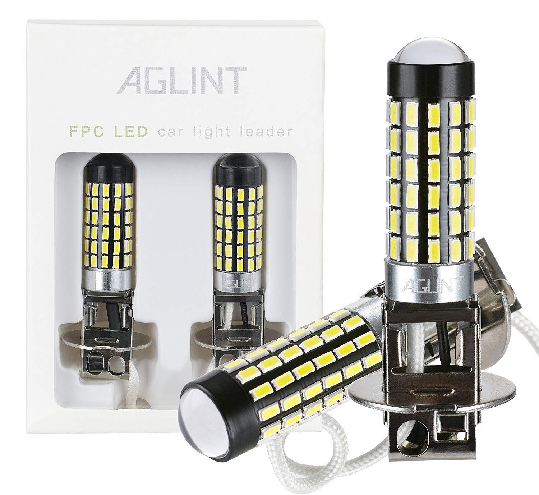 AGLINT Ampoule H3 LED Voiture Ampoule de Brouillard Super Brillant 900 Lumens 3014 78SMD 12V 24V Pour Feux de Lampe de course diurne Auto LED 6000K Blanc