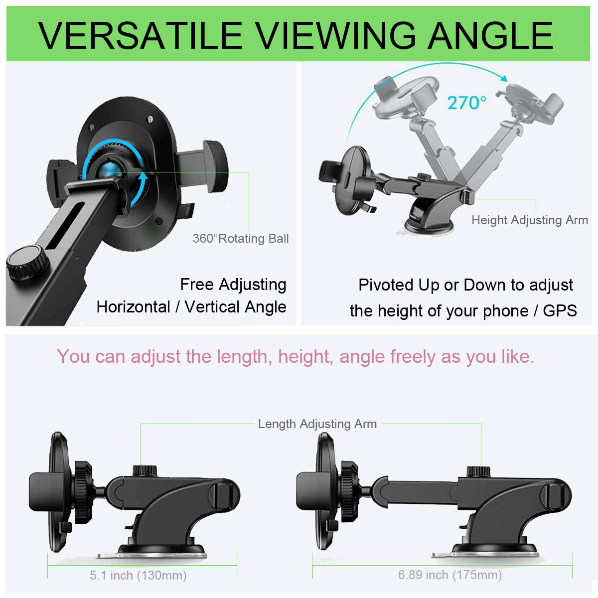 Dashboard Windshield Stand 360/° Rotation Stretchable One Touch Car Phone Mount Compatible for iPhone 8 Plus X XR XS MAX 7 6s Samsung S10 S8 S9 Plus S7 Note 9 8 LG G5 G6 Nexus 5X Phone Holder for Car