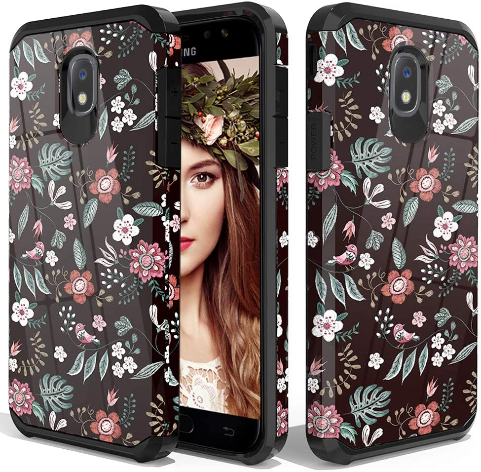 ShinyMax Protective Case for Samsung J7 2018 Release Dual Layer Armor Cover Anti-Scratch Hybrid Shockproof Case with Floral Design for Galaxy J7 Refine J7 Star J7 Crown J7 Aura for Girls and Women
