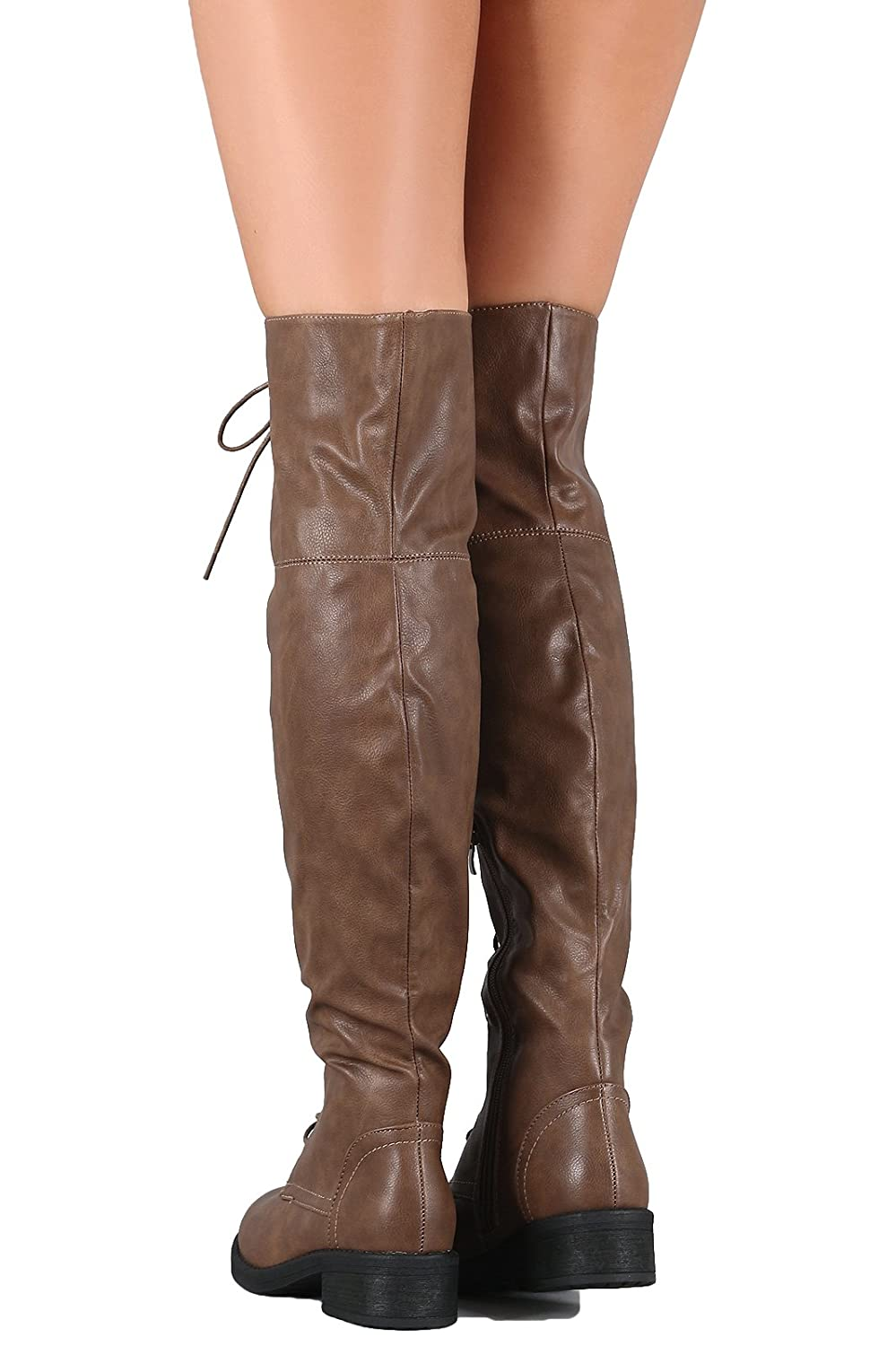 WestCoast Womens Over The Knee Boots Tall Lace Riding Boots Thigh High Combat Boots Megen-06