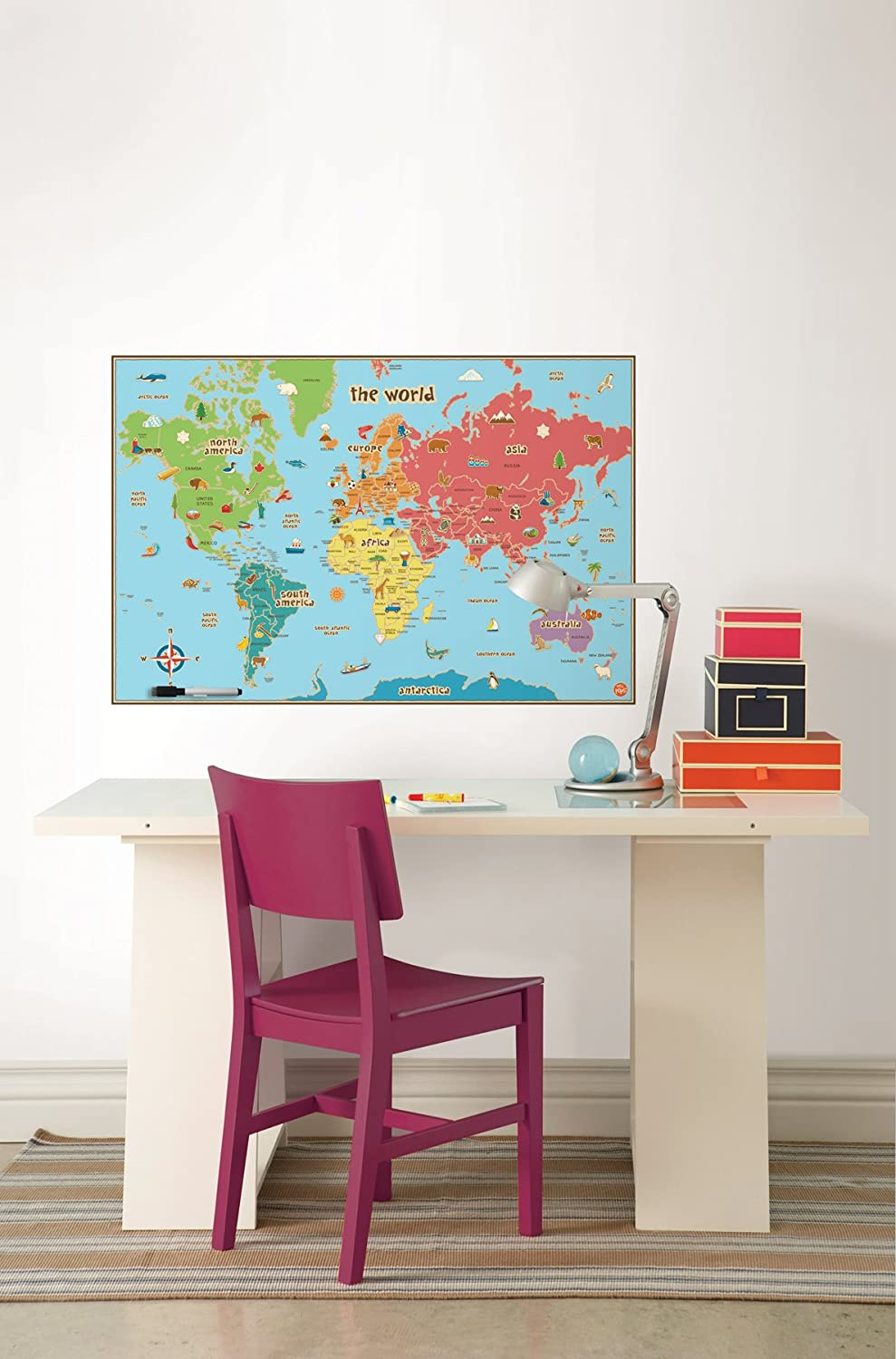 Amazoncom Wall Pops WPE Kids World Dry Erase Map Decal Wall - Us map dry erase