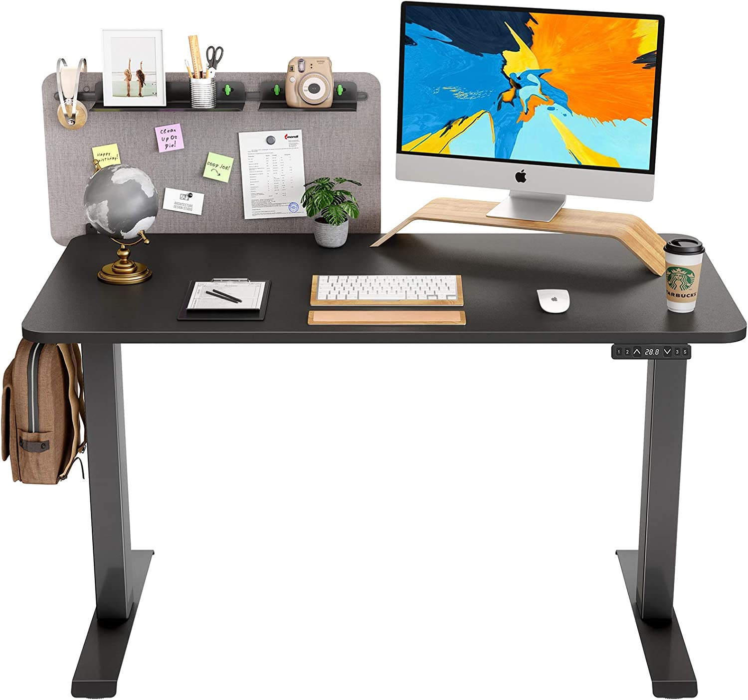 FAMISKY Dual Motor Adjustable Height Electric Standing Desk, Storage Panel with Tray, 48 x 24 Inches Stand Up Table, Sit Stand Home Office Desk with Splice Tabletop, Black Frame/Black Top