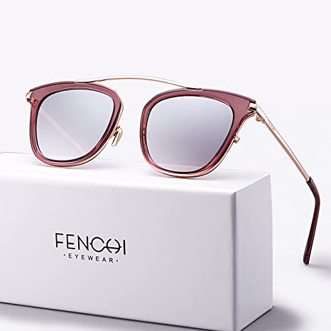 02c04779f0 Amazon.com  FENCHI Sunglasses Women Metal Glasses Driving Fashion Brand  Design New Sunglasses (lens brown gradient frame shiny tort temple rose gold)   ...