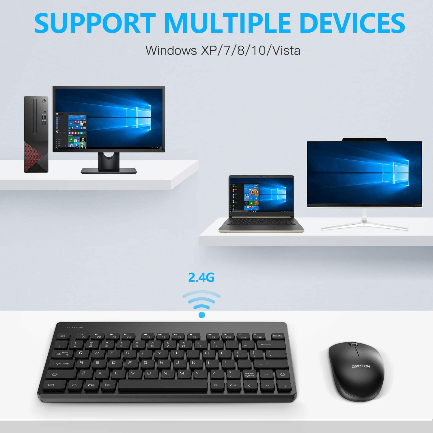 Black OMOTON 2.4G Wireless Keyboard and Mouse Combo with USB Receiver Compatible with Windows XP//7//8//10//Vista for Desktop Computer//PC//Laptop Built-in Foldable Stand Wireless Keyboard and Mouse
