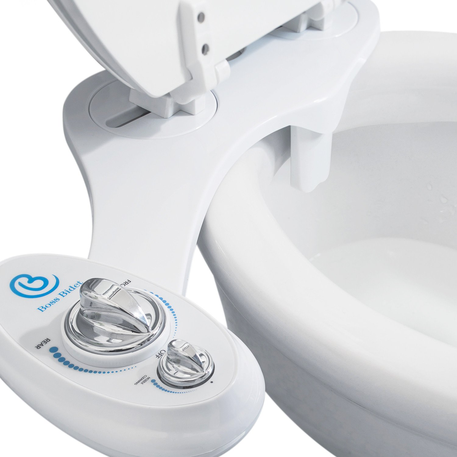 Boss Bidet Toilet Attachment   Cleans Your Rear   Warranty - Lifetime   30 Day Guarantee Dual Nozzle   Self Cleaning Feature   Water Sprayer   15 Minute Installation   Luxury White & Blue