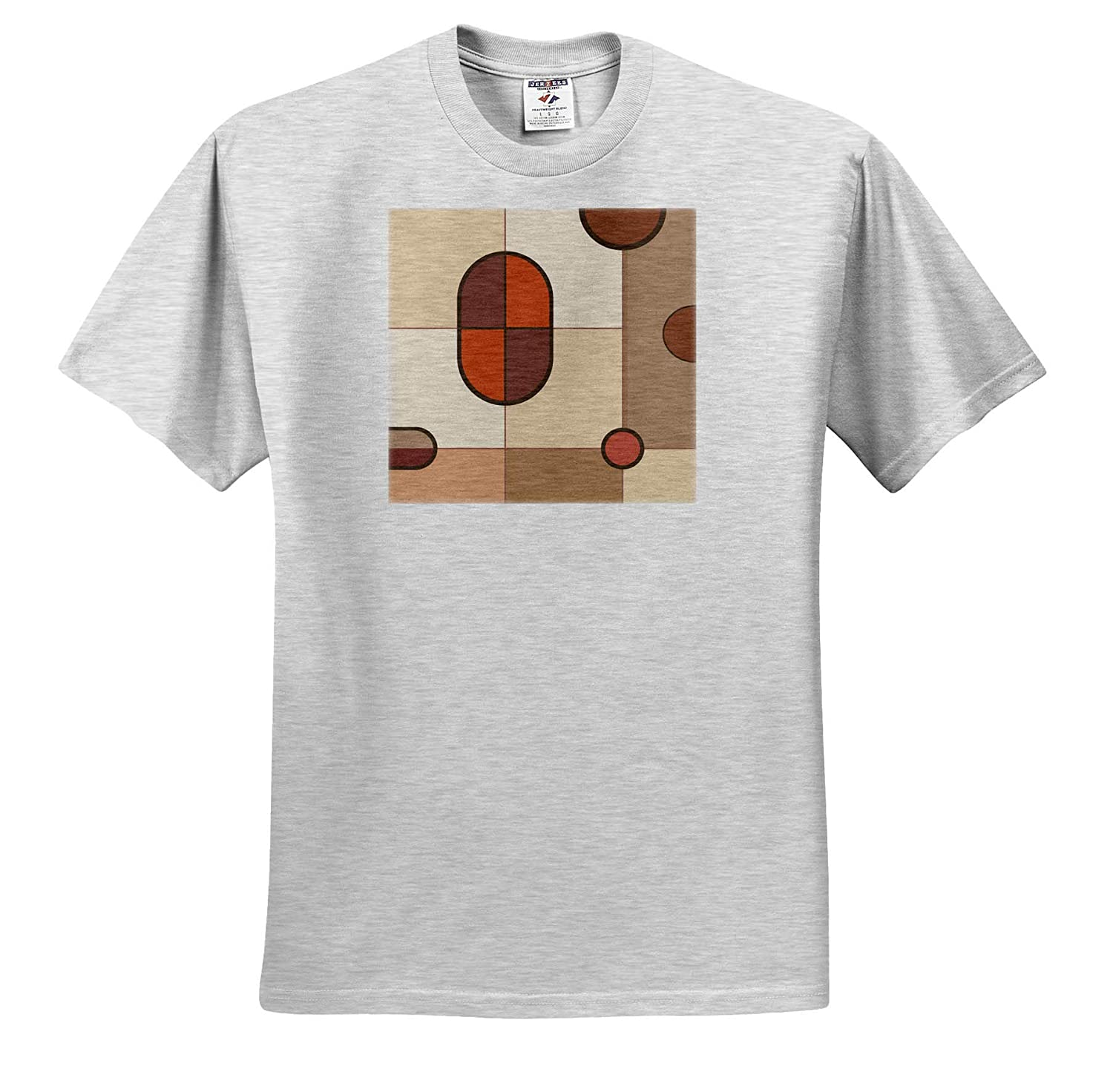 Abstract Art Orange and Cream Colors 3dRose Natalie Paskell - T-Shirts Abstract Art Shapes in Browns