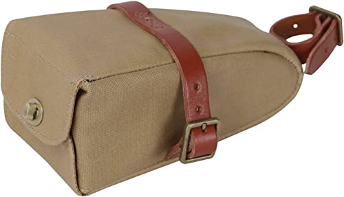 TOURBON Canvas and Leather Strap-On Bike Saddle Bag
