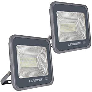 LEPOWER 2 Pack 100W LED Flood Light, 10000lm Super Bright Work Light with Plug, 6000K White Light, IP66 Waterproof Outdoor Floodlight for Garage, Garden, Lawn,Basketball Court,Playground